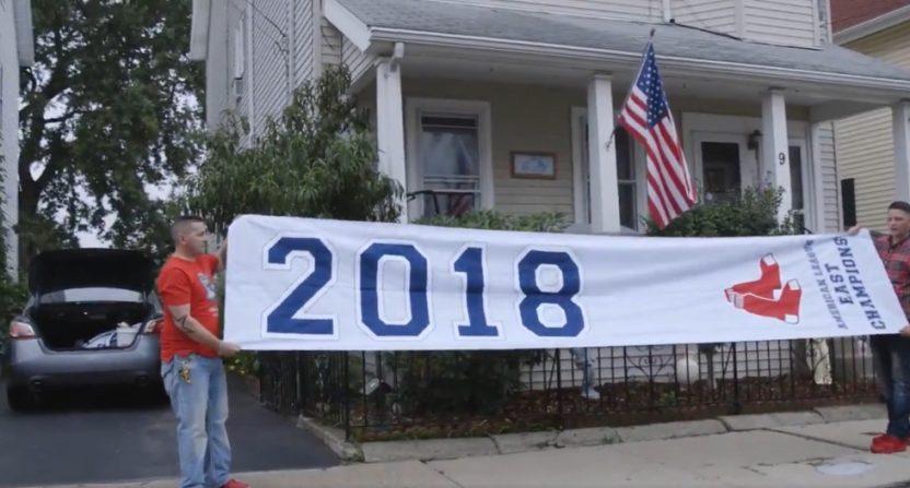 Boston Guys Find 2018 Al East Champions Banner On Highway Bleacher Fan